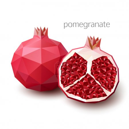 Polygonal fruit - pomegranate. Vector illustration