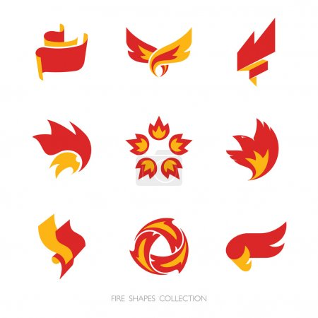 Fire signs. Vector icons set.
