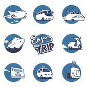 Transportation illustrations set Vector graphics 3 colors