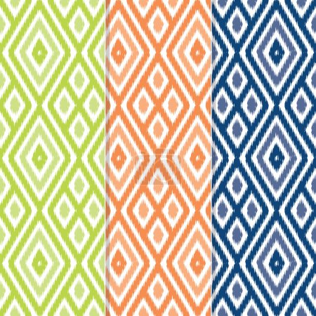 Set of 3 Seamless Diamond Ikat Patterns
