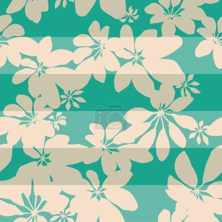 Illustration pour Motif de fond de feuille de botanique rayés sans couture - image libre de droit