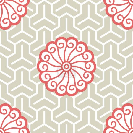 Hibiscus Samurai Seamless Background Pattern