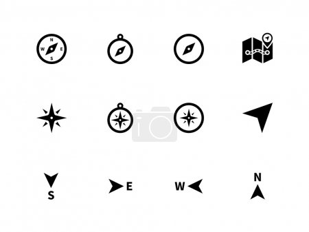 Illustration for Compass icons on white background. Vector illustration. - Royalty Free Image