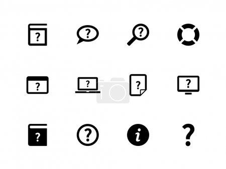 Illustration pour Aide et FAQ icônes sur fond blanc. Illustration vectorielle . - image libre de droit