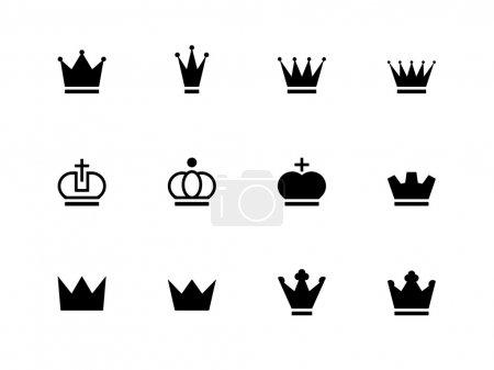 Illustration pour Icônes de la Couronne sur fond blanc. Illustration vectorielle . - image libre de droit
