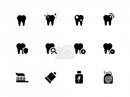 Tooth, teeth icons on white background.