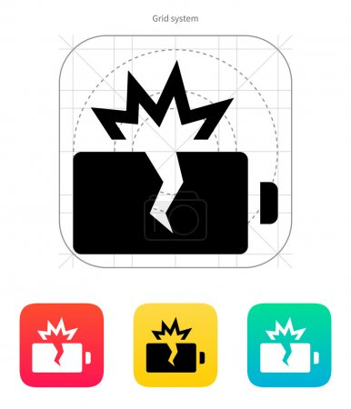 Explosion battery icon. Vector illustration.
