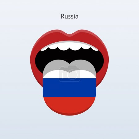 Illustration for Russia language. Abstract human tongue. Vector illustration. - Royalty Free Image