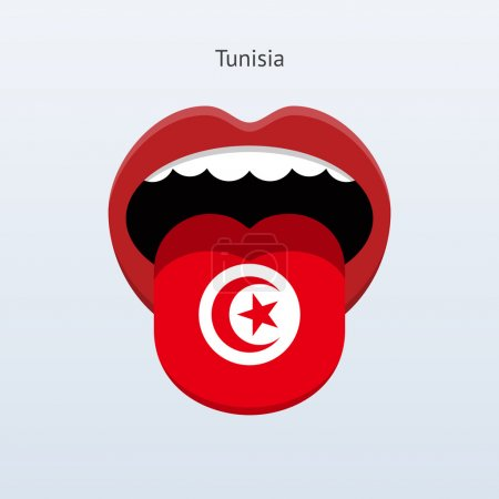 Illustration for Tunisia language. Abstract human tongue. Vector illustration. - Royalty Free Image