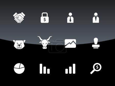 Finanzsymbole auf schwarzem Hintergrund.