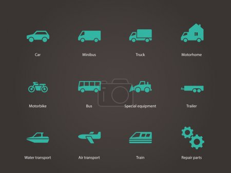 Illustration for Cars and Transport icons. Vector illustration. - Royalty Free Image