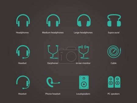 Headphones and speakers icons.