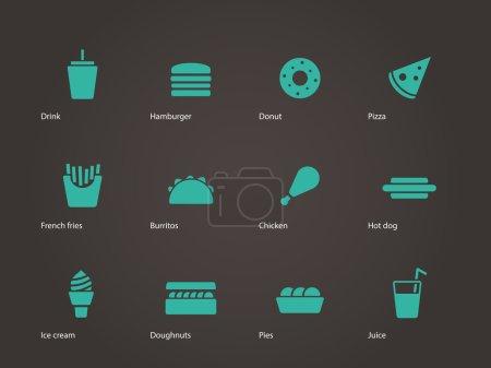 Illustration pour Icônes de restauration rapide. Illustration vectorielle . - image libre de droit