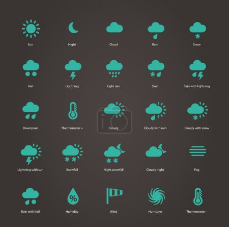 Illustration for Weather icons. Vector illustration. - Royalty Free Image