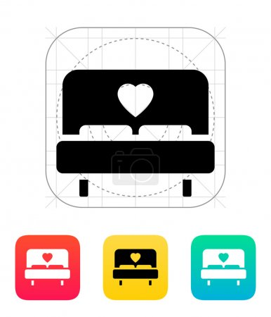 Illustration for Romantic bed icon. Vector illustration. - Royalty Free Image
