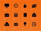 Business icons on orange background