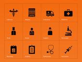 Hospital icons on orange background Vector illustration