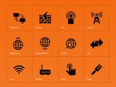 Networking icons on orange background