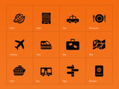 Travel icons on orange background
