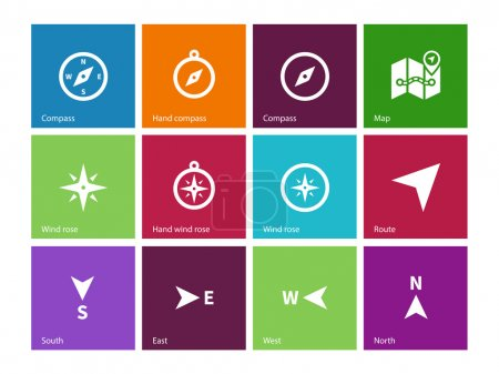 Compass icons on color background.