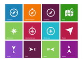Compass icons on color background