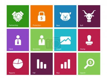 Finanzsymbole auf farbigem Hintergrund.