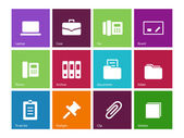 Office icons on color background