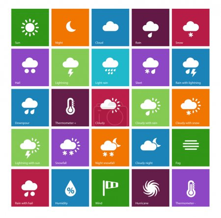 Illustration for Weather icons on color background. Vector illustration. - Royalty Free Image