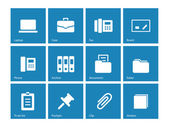 Office icons on blue background