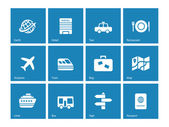 Travel icons on blue background