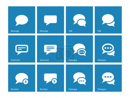 Message bubble icons on blue background.