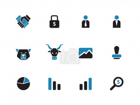 Finanzduoton-Symbole auf weißem Hintergrund.