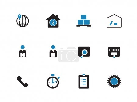 Logistics duotone icons on white background.