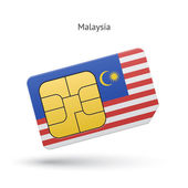 Malaysia mobile phone sim card with flag Vector illustration