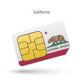 State of California phone sim card with flag Vector illustration