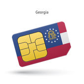 State of Georgia phone sim card with flag Vector illustration