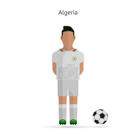 National football player. Algeria soccer team uniform.