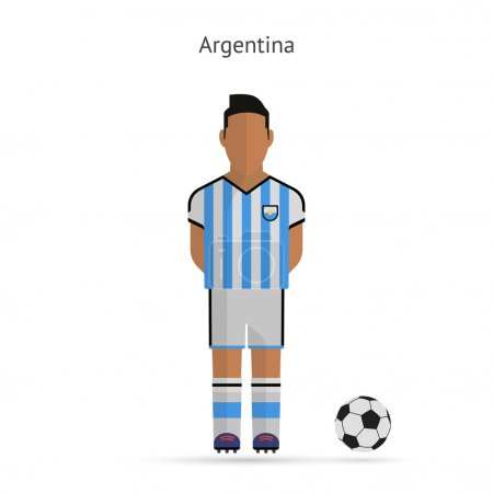 National football player. Argentina soccer team uniform.