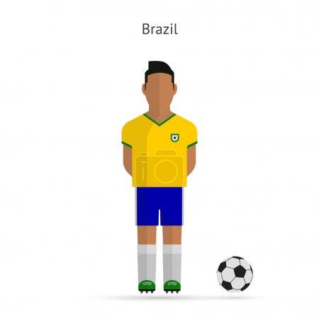 National football player. Brazil soccer team uniform.