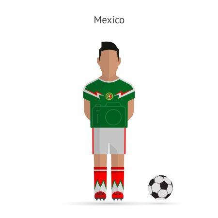 National football player. Mexico soccer team uniform.