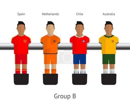 Table football, soccer players. Group B - Spain, Netherlands, Chile, Australia