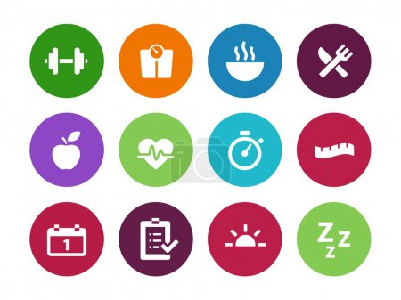 Fitness circle icons on white background.