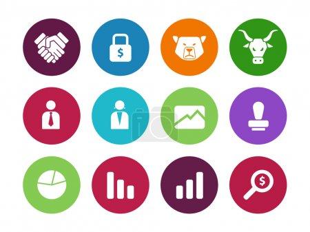 Finanzkreis-Symbole auf weißem Hintergrund.