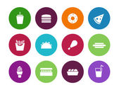 Fast food circle icons on white background