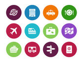 Travel circle icons on white background