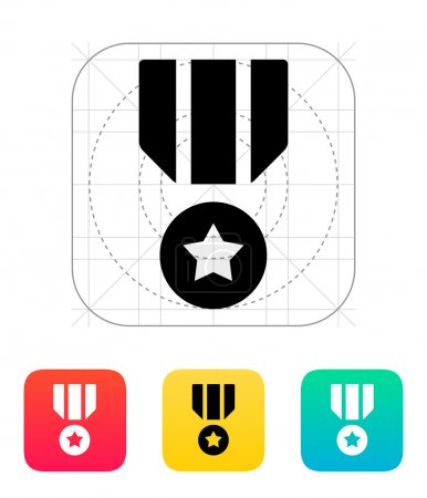 Illustration for Military medal icon. Vector illustration. - Royalty Free Image