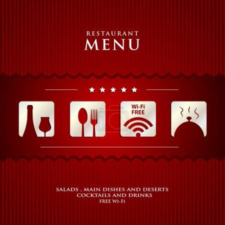 Photo pour Conception papier Restaurant Menu sur le rouge couvercle de fond - image libre de droit