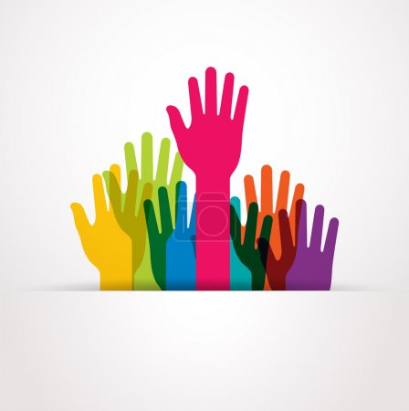 Illustration for Vector colored raised hands presentation - Royalty Free Image
