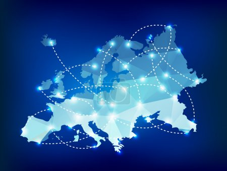 Illustration for Europe map polygonal with spot lights places - Royalty Free Image