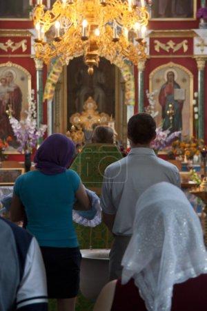 Little child orthodox christening